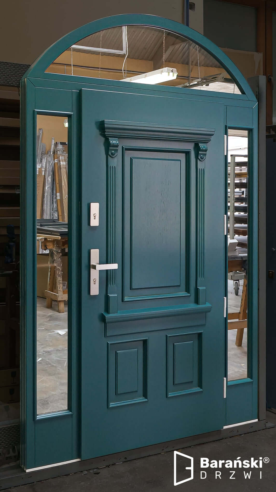 Barański Drzwi - drzwi wejściowe z dostawkami w stylu amerykańskim - zieleń