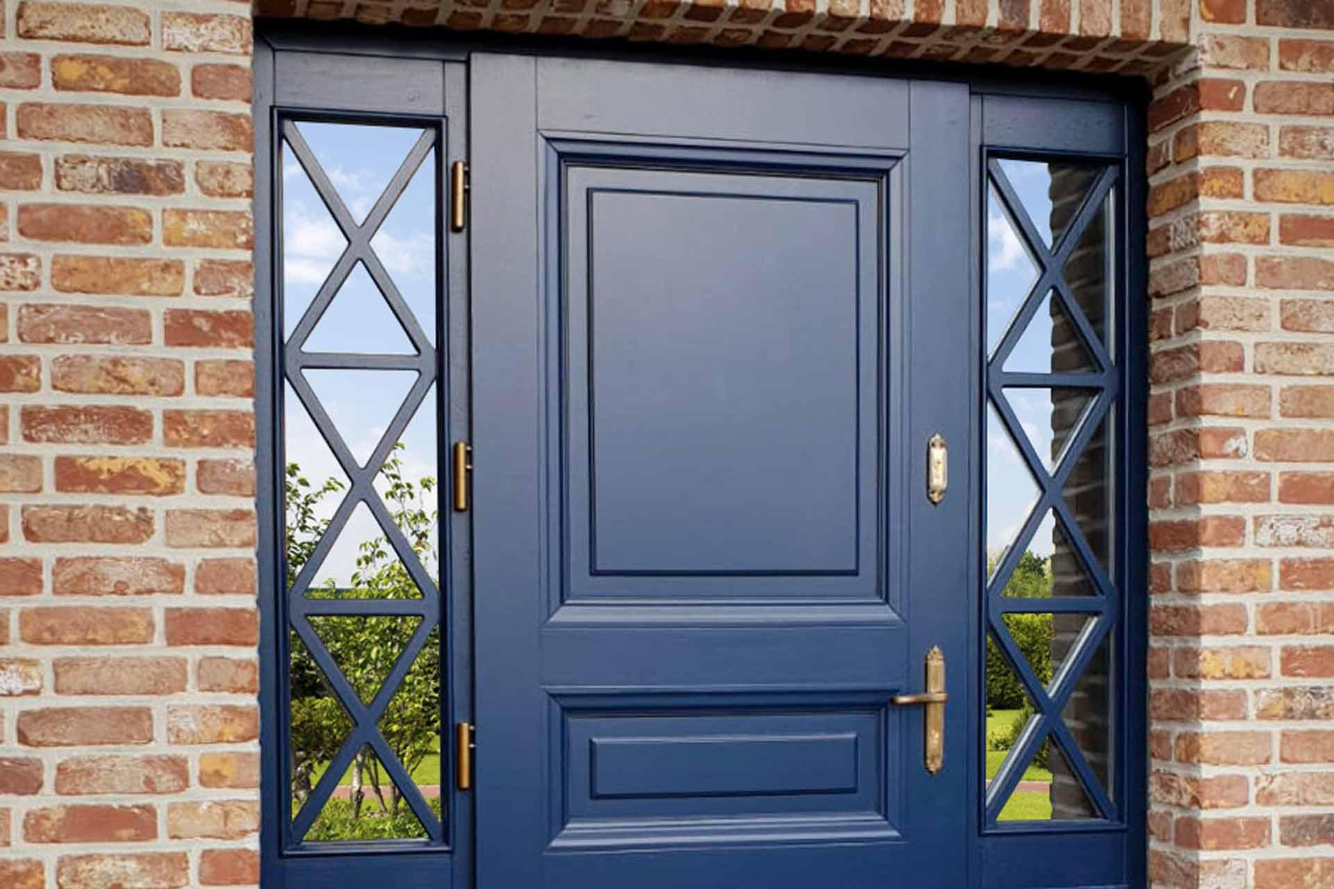 Drzwi zewnętrzne Barański w kolorze niebieskim