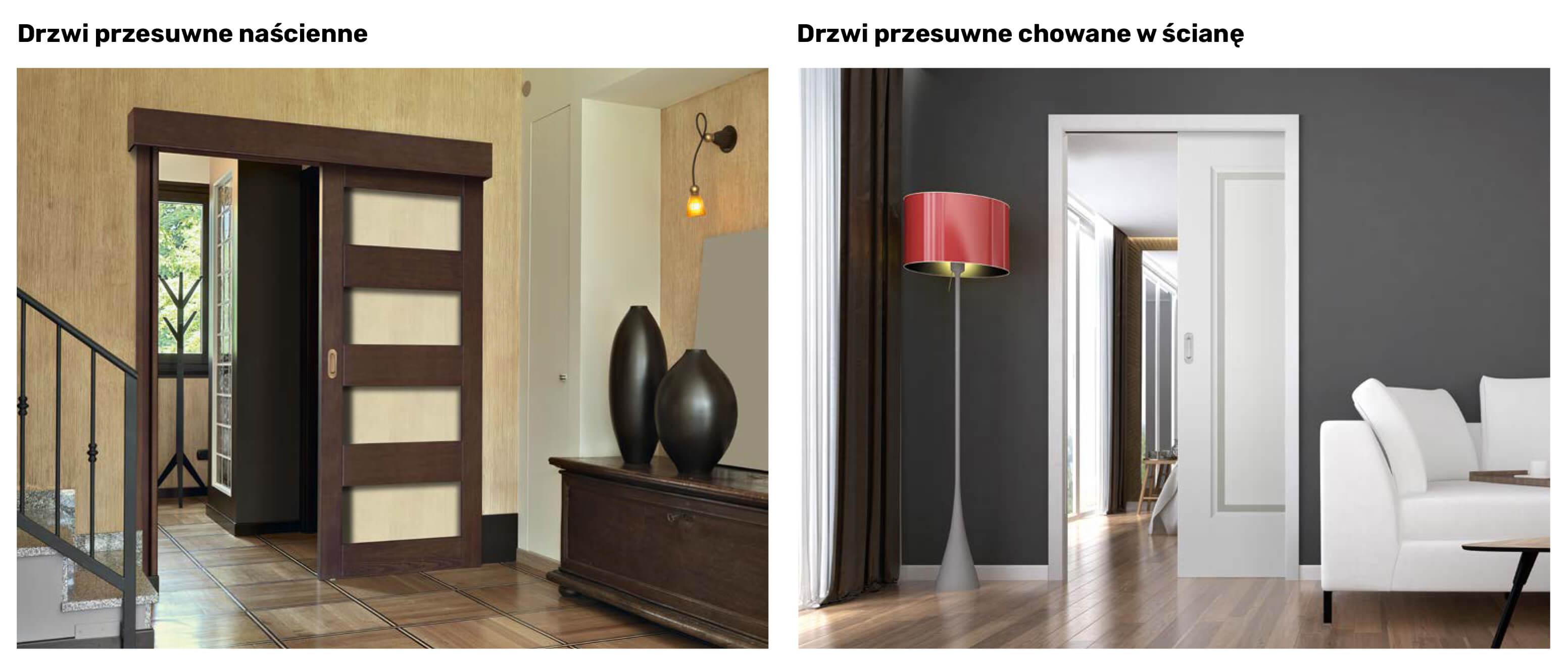 Drzwi przesuwne naścienne i drzwi przesuwne chowane w ścianę