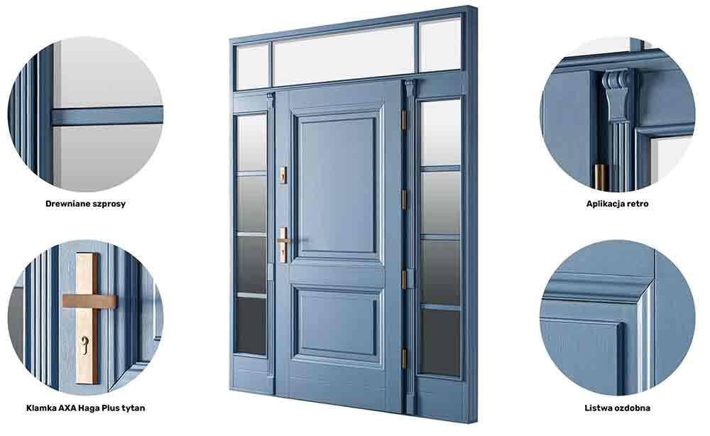Drzwi zewnętrzne retro - przedstawienie dodatków